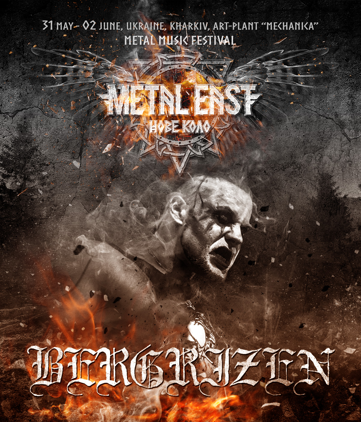 31 May, 1 – 2 June 2019. Ukraine, BERGRIZEN at the stage of Metal East Nove Kolo festival in Kharkiv